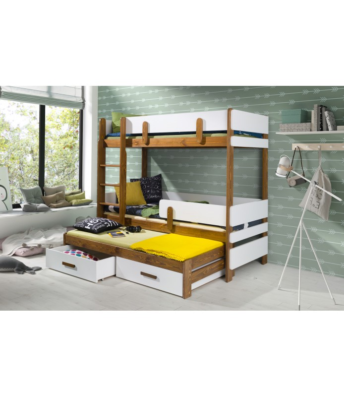 ETTORE III dziecięce łóżko piętrowe 3 osobowe