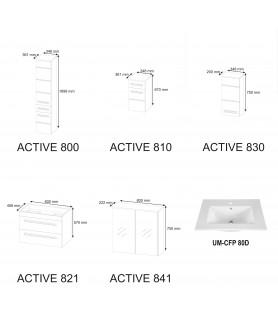 MEBLE ŁAZIENKOWE ACTIVE SET80 (800, 810, 821, 830, 841, UM-CFP80D)