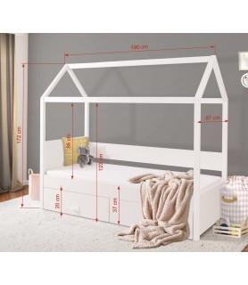 Łóżko 1 osobowe domek z baldachimem OFELIA