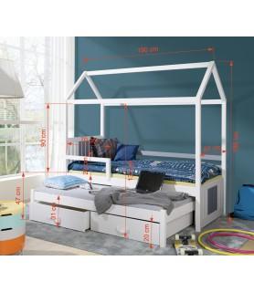 Łóżko domek 2 osobowe z barierką JONAS II