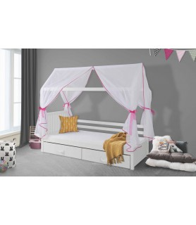 Łóżko 1 osobowe domek z baldachimem ROZALIA