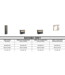 MEBLE ŁAZIENKOWE BAHAMA GREY SET60 (800, 820, LUSTRO VENUS 60, UM-CFP 60D-DP)