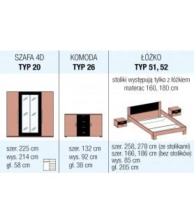 VERA sypialnia - biały/czarny orzech